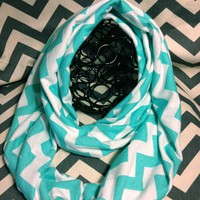 Tiffany Blue and Cream Chevron Infinity Scarf