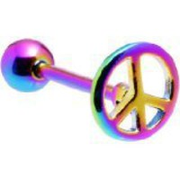 Titanium Anodizing on 316L Stainless Steel Peace Sign Tongue Ring