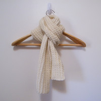 Hand Knitted Wool Scarf in Cream