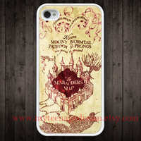 marauder's map iPhone 4 Case, iphone 4s case, harry potter white iphone 4 case, harry potter iphone cae