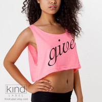 Give Charitable Neon Pink Oversized Loose Crop Tank by KindLabel