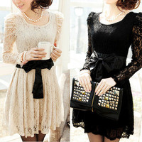 new Sexy Lady&#x27;s Long Sleeve Lace Leopar Black White Formal Party Dress Evening