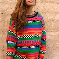 bright COOGI style 90s GRUNGE thick knit WOVEN nordic sweater