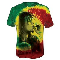 Bob Marley - Rasta Smoke Mens T-Shirt In Tie Dye