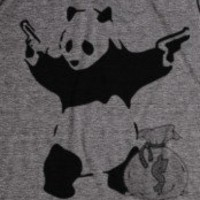 Panda-Unisex Athletic Grey T-Shirt