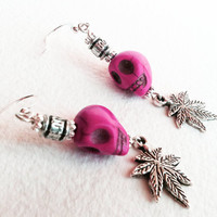 Howlite Pink Turquoise Marijuana earring - other colors, beaded cannabis jewelry, marijuana jewelry ganja green purple orange red