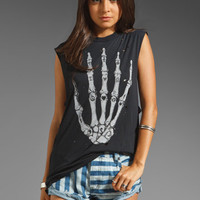 UNIF Skull Hand Sleeveless Tee in Black from REVOLVEclothing.com