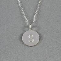 CUSTOM - Hand Stamped Disc Necklace, Initial Letter on Fine Silver Disc, Sterling Silver Chain, Personalized Necklace, FREE birthstone