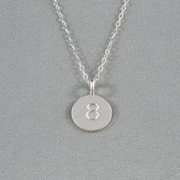 CUSTOM - Hand Stamped Disc Necklace, Lucky Number on Fine Silver Disc, Sterling Silver Chain, Simple, Personalized Necklace, FREE Birthstone