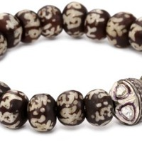 Borgioni Rose Cut Vintage Ball on Sanskrit Yak bone Beaded Bracelet - Like Love Buy