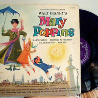 1964 Mary Poppins Walt Disney Vintage Vinyl Record by VintageWoods