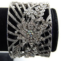 Bridal Antique Inspired Silver Crystal Rhinestone Floral Cuff Bangle Bracelet - Like Love Buy