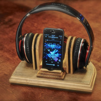 "The ""Sound Stand"" custom hand made wooden combo docking stand for headphones and iPod, iPhone or MP3 player"