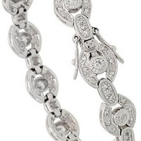 Sterling Silver Vintage Style CZ Bracelet, 7 in., 3/8 inch (10 mm) wide - Like Love Buy