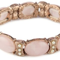 1928 Jewelry Vintage-Inspired Pink Quartz Hued Cabochon Bracelet - Like Love Buy