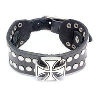 Top Value Jewelry - Mens Black Wide Leather Cuff Biker Bracelet with Vintage Silver Plated Cross and Round Studs - Like Love Buy