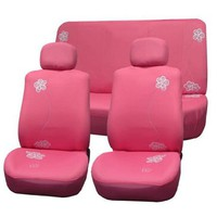 FH-FB053112 Floral Embroidery Design Car Seat Covers Pink Color