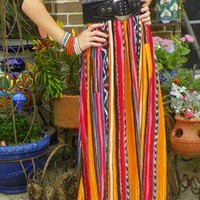 New Strapless Maxi Long Summer Party Cruise Luau Sun Dress Tribal Fabric Design