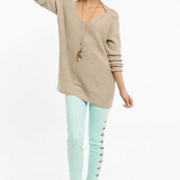 Cold Shoulder Oversized Sweater $37