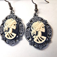 Skull Cameo Earrings- Little Black & Ivory Lolita Skeleton Lady Cabochon on Antique Silver Retro Floral Settings