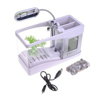 White USB Desktop Aquarium Mini Fish Tank With Running Water Holds 1.5 Quarts