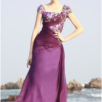 Evening Dresses :: Wrapped in Purple Modest Evening Gown - Wedding Dresses, Evening Dresses, Gowns