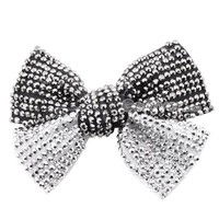$4.99  Elegant Full Rhinestone BlackWhite Bow Hair Barrette at Online Cheap Fashion Jewelry Store Gofavor