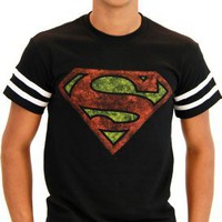 Superman Distressed Logo With Striped Sleeves Black Adult T-shirt Tee