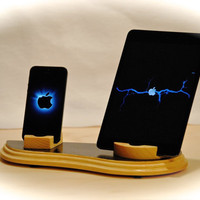 "The ""Dual Dock"" custom handcrafted wooden docking stand for iPhone, iPod, iPad and iPad mini plus Kindle Fire and Nook tablets"