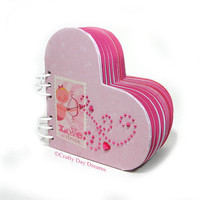 Cupid&#x27;s Pink Heart Shaped Journal with Multicolored Pages