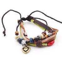 Fashion Adjustable Ethnic Gold Tone Heart Leather String Bracelet at online cheap fashion jewelry store Gofavor