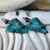 Verdigris Teal Boho Leaf Earrings by lunarbelle on Etsy