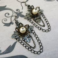 Pearls at Midnight Chain Earrings by lunarbelle on Etsy