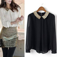 Long Sleeve Chiffon Sparkle Collar