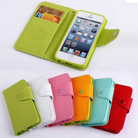 Diary Envelope Wallet Cover Flip Case For iPhone 5 5G