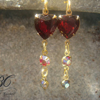 Vintage Ruby Red Heart and Swarovski Crystal by BreatheCouture