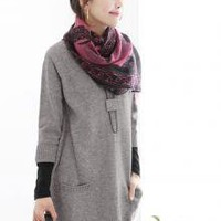 Casual Style Long V-neck Dual Pockets Grey Sweaters_F/W Blouses_Wholesale - Wholesale Clothing, Wholesale Shoes, Bags, Jewelry, Wholesale Fashion Apparel &amp; Accessories Online