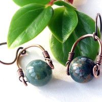 Stone dangle earrings - green Bloodstone bead - copper wire wrapped gemstone drop earrings