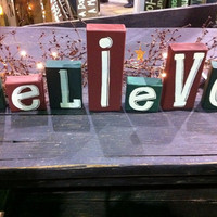 Believe block sign Christmas shelf sitter hand by trimblecrafts