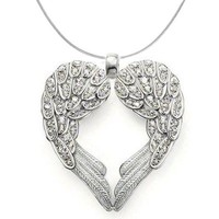 925 Sterling Silver Angel Heart Guardian Angel Wing Pendant Necklace with Cubic Zirconia Accents