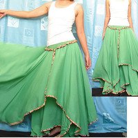 Circle Maxi Skirt Cotton Hippie Green Women Long Skirt / Wide Flowing Full Summer Skirt Xmas Gift