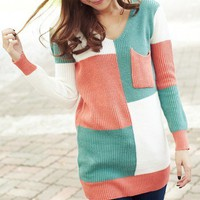 Contrast Color Single Pocket V Neck Knit Sweater from Cool   Style
