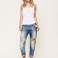 Free People Clothing Boutique > Oil Stained Destroyed Boyfriend Jean