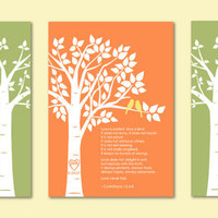 Love 1 Corinthians 13 Print - Custom Love Bird Family Tree and Family Tree Children Prints - Set of three art poster prints - 5&quot;x7&quot;