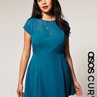 ASOS | ASOS Curve Chiffon Dress With Mesh Neckline at ASOS