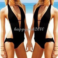 Sexy Black Monokini Halter Swimwear Bathing Swimsuit qb