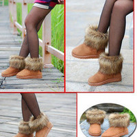 New Fashion Womens Girl Winter Warm Ankle Snow Boots Shoes Soft Sole 002