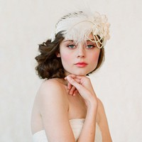 Wedding headband bridal hair piece feather pearl by myrakim