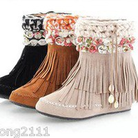 Womens Faux Suede Flower Boho Fringe Flats Heel Ankle Boots Shoes &amp;A55