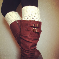 SALE//Crochet Boot Cuffs in Cream by Love2Hook on Etsy